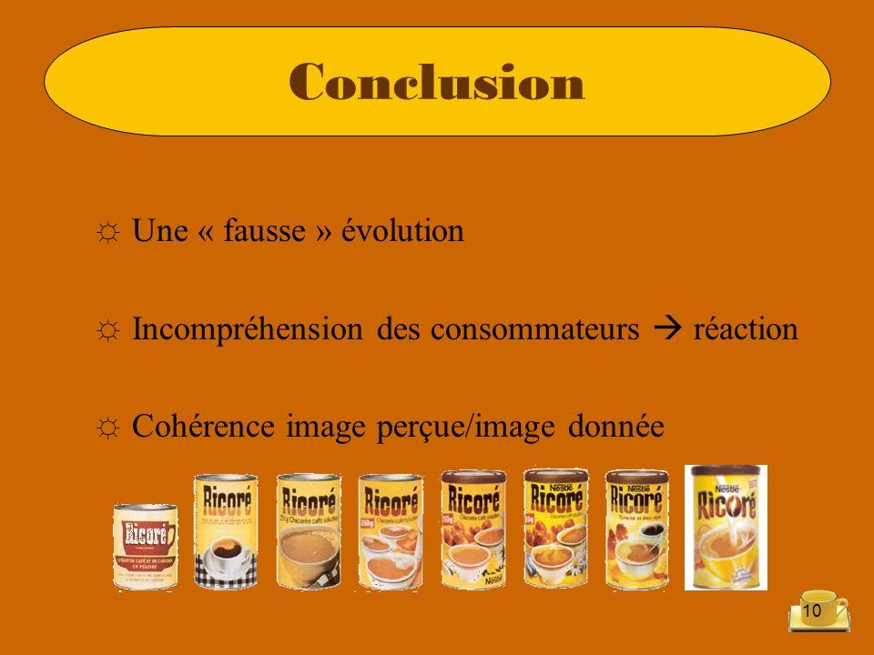10 Une « fausse » évolution Incompréhension des consommateurs réaction Cohérence image perçue/image donnée Conclusion