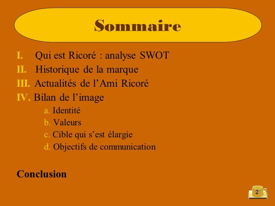 2 I. Qui est Ricoré : analyse SWOT II. Historique de la marque III. Actualités de lAmi Ricoré IV. Bilan de limage a. Identité b. Valeurs c. Cible qui