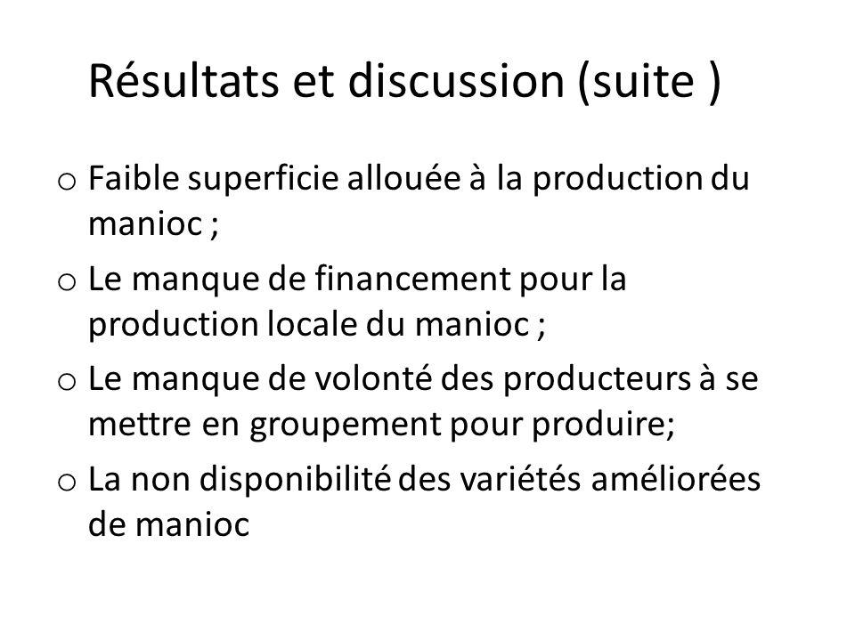 Résultats et discussion (suite ) o Faible superficie allouée à la production du manioc ; o Le manque de financement pour la production locale du manio