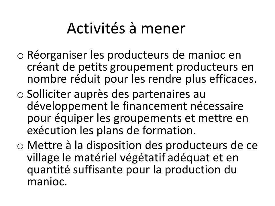 Activités à mener o Réorganiser les producteurs de manioc en créant de petits groupement producteurs en nombre réduit pour les rendre plus efficaces.