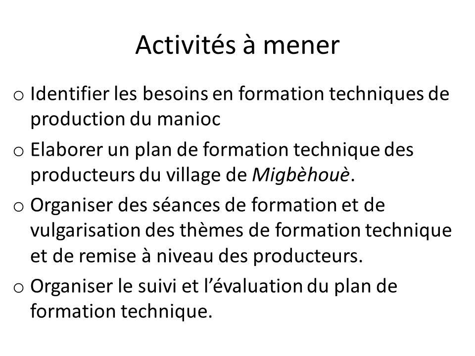 Activités à mener o Identifier les besoins en formation techniques de production du manioc o Elaborer un plan de formation technique des producteurs d