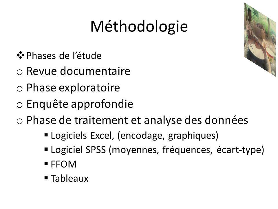 Méthodologie Phases de létude o Revue documentaire o Phase exploratoire o Enquête approfondie o Phase de traitement et analyse des données Logiciels E