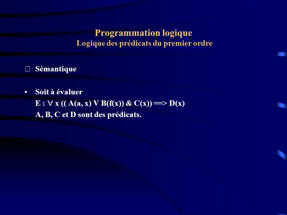 Programmation logique Logique des prédicats du premier ordre Sémantique Soit à évaluer E : x (( A(a, x) V B(f(x)) & C(x)) ==> D(x) A, B, C et D sont