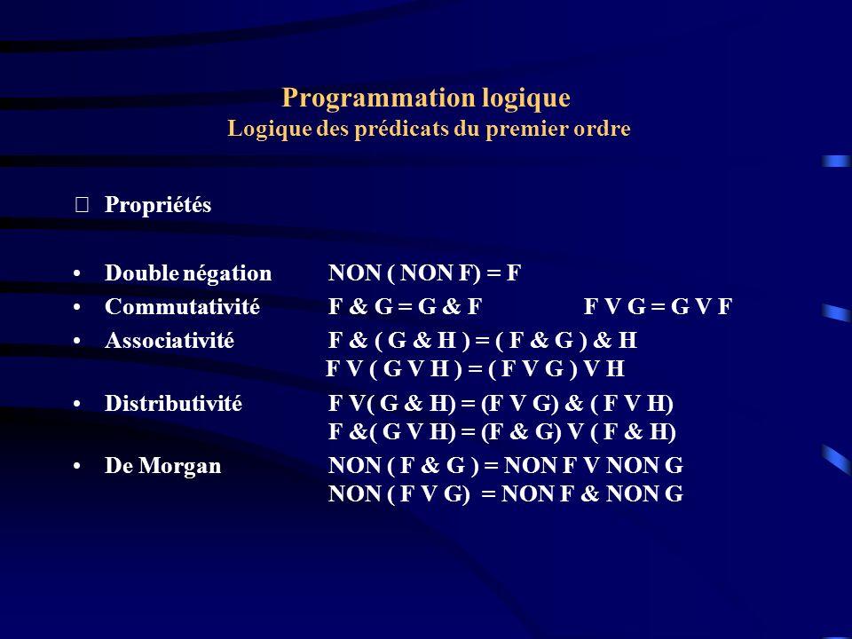 Programmation logique Logique des prédicats du premier ordre Propriétés Double négation NON ( NON F) = F CommutativitéF & G = G & FF V G = G V F Asso