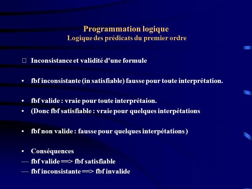 Programmation logique Logique des prédicats du premier ordre Inconsistance et validité d'une formule fbf inconsistante (in satisfiable) fausse pour t