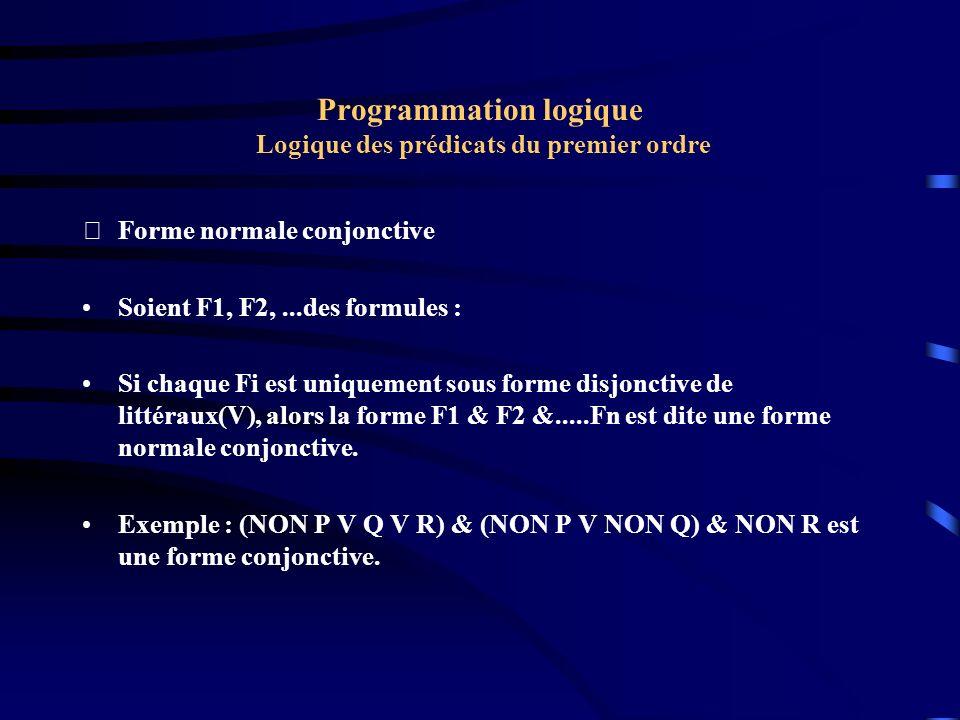 Programmation logique Logique des prédicats du premier ordre Forme normale conjonctive Soient F1, F2,...des formules : Si chaque Fi est uniquement so