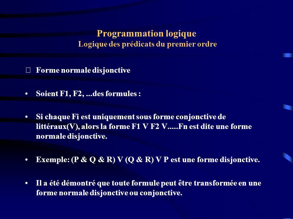 Programmation logique Logique des prédicats du premier ordre Forme normale disjonctive Soient F1, F2,...des formules : Si chaque Fi est uniquement so