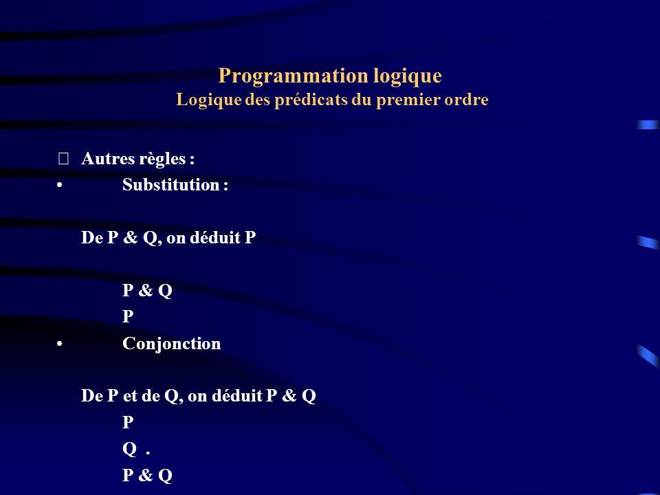 Programmation logique Logique des prédicats du premier ordre Autres règles : Substitution : De P & Q, on déduit P P & Q P Conjonction De P et de Q, o