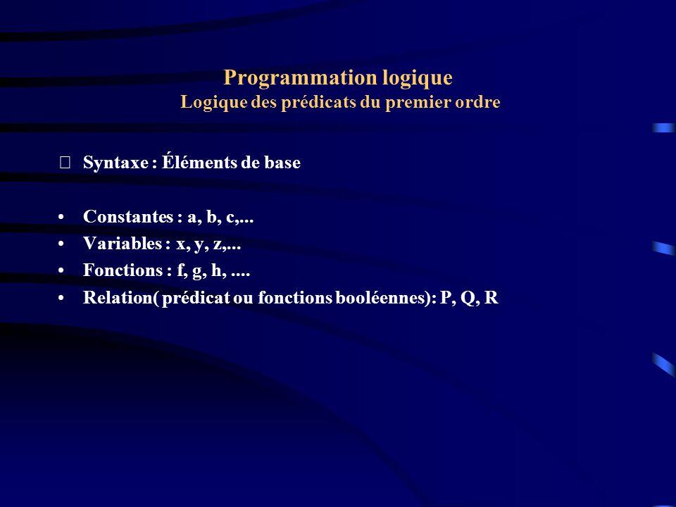 Programmation logique Logique des prédicats du premier ordre Syntaxe : Éléments de base Constantes : a, b, c,... Variables : x, y, z,... Fonctions :