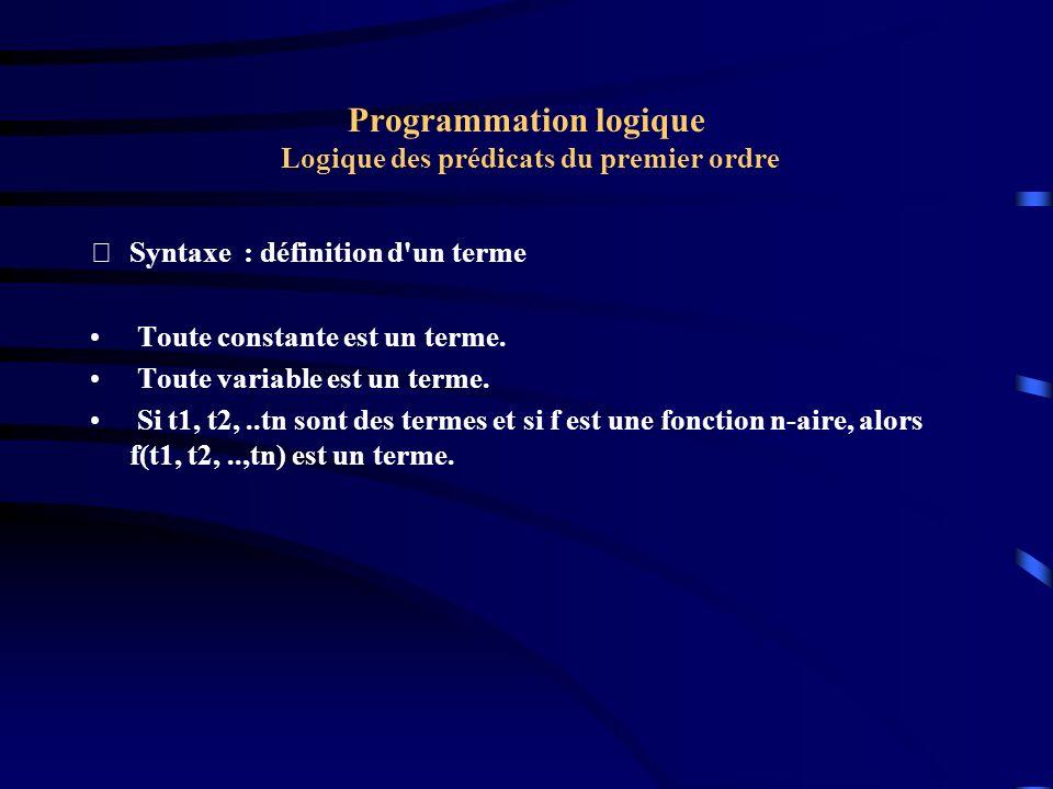 Programmation logique Logique des prédicats du premier ordre Syntaxe : définition d un atome Si t1, t2,..., tn sont des termes et si P est un prédicat n-aires alors P(t1, t2,.., tn) est un atome.