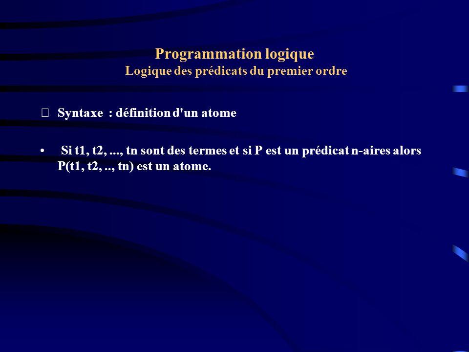 Programmation logique Logique des prédicats du premier ordre Syntaxe : définition d'un atome Si t1, t2,..., tn sont des termes et si P est un prédica
