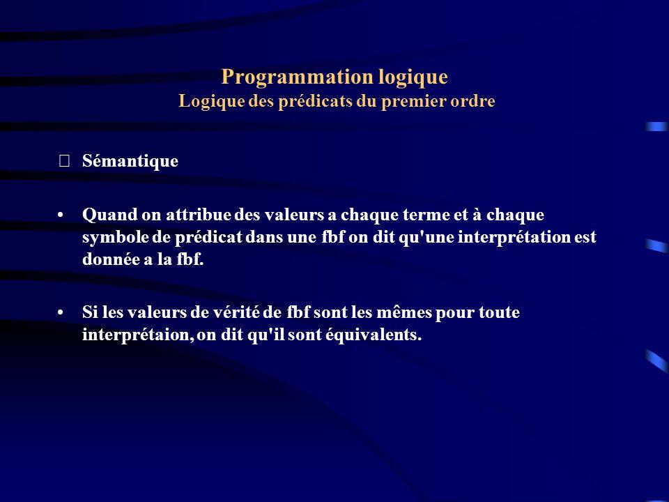 Programmation logique Logique des prédicats du premier ordre Sémantique Soit à évaluer E : x (( A(a, x) V B(f(x)) & C(x)) ==> D(x) A, B, C et D sont des prédicats.