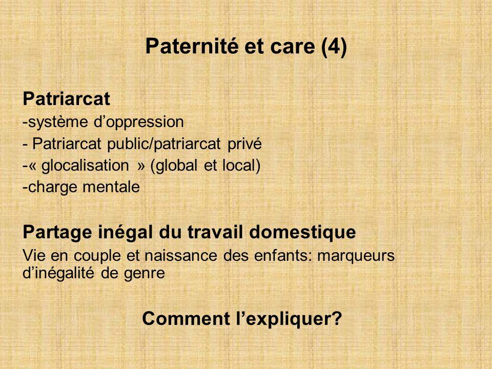 Paternité et care (4) Patriarcat -système doppression - Patriarcat public/patriarcat privé -« glocalisation » (global et local) -charge mentale Partag