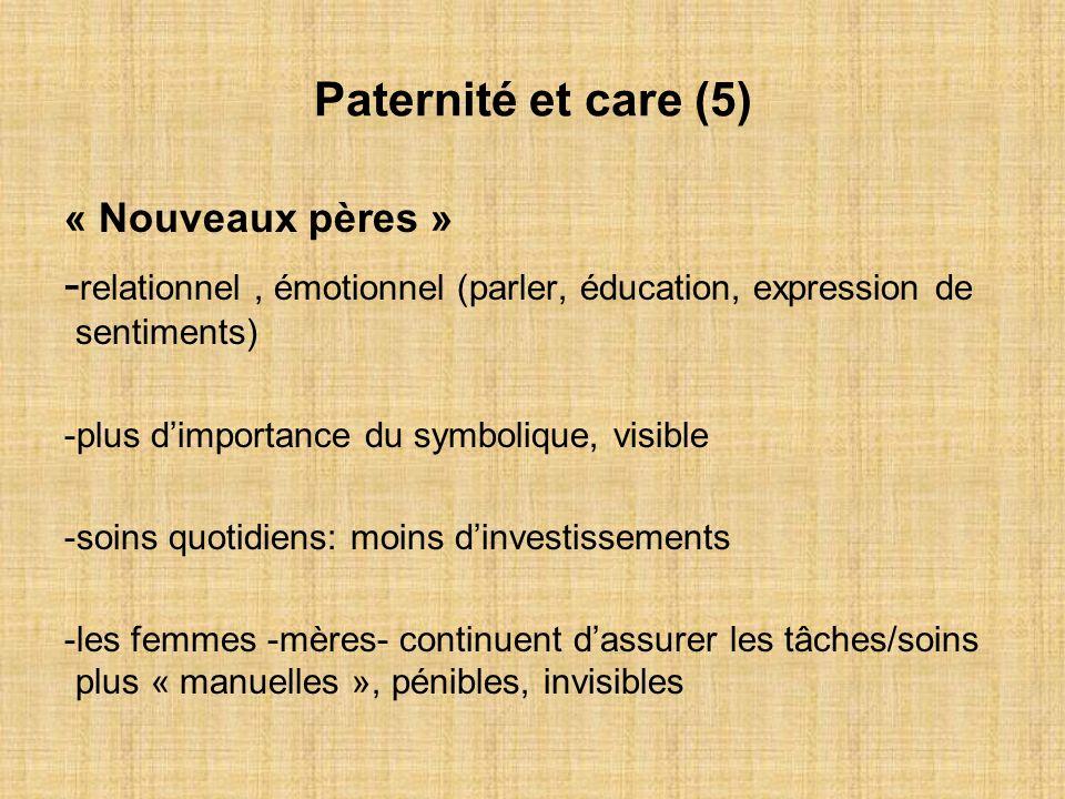Paternité et care (5) « Nouveaux pères » - relationnel, émotionnel (parler, éducation, expression de sentiments) -plus dimportance du symbolique, visi