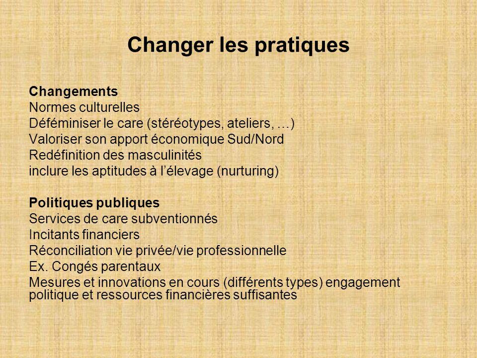 Changer les pratiques Changements Normes culturelles Déféminiser le care (stéréotypes, ateliers, …) Valoriser son apport économique Sud/Nord Redéfinit