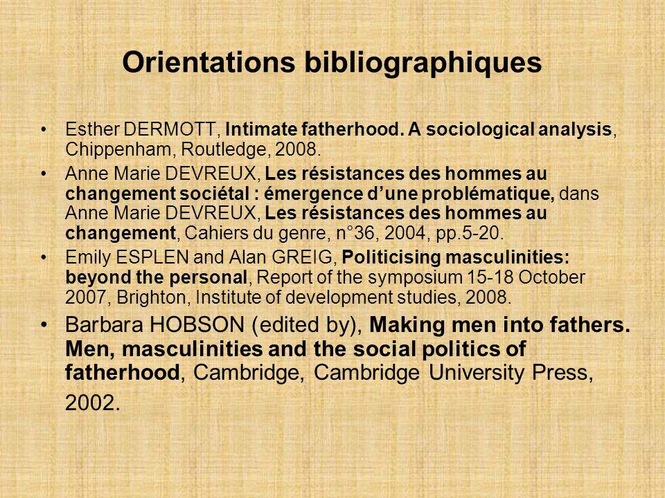 Orientations bibliographiques Esther DERMOTT, Intimate fatherhood. A sociological analysis, Chippenham, Routledge, 2008. Anne Marie DEVREUX, Les résis