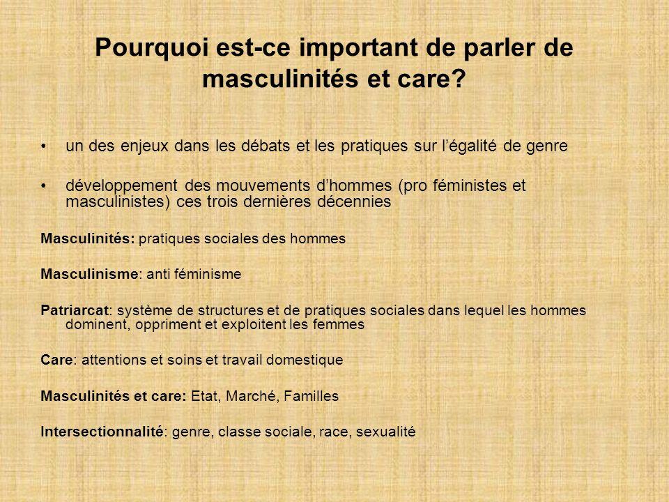 Pourquoi est-ce important de parler de masculinités et care? un des enjeux dans les débats et les pratiques sur légalité de genre développement des mo