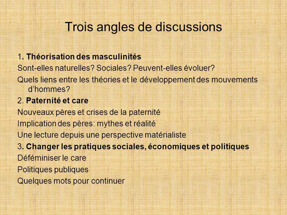 Trois angles de discussions 1. Théorisation des masculinités Sont-elles naturelles? Sociales? Peuvent-elles évoluer? Quels liens entre les théories et