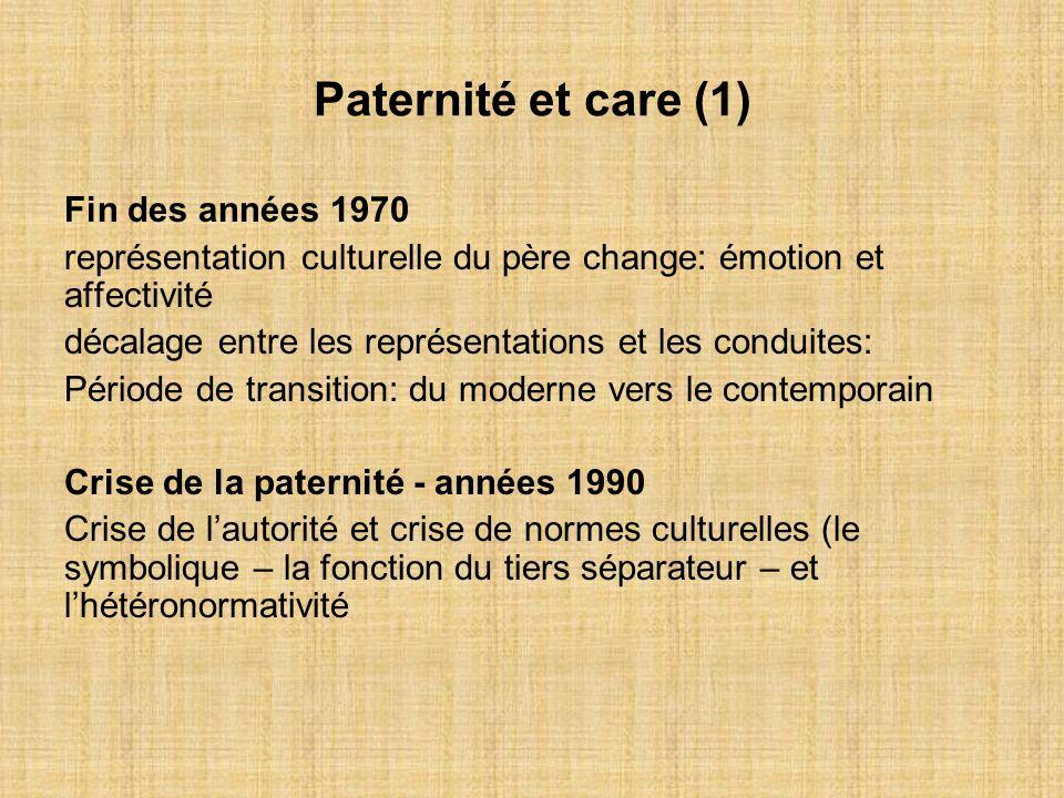 Paternité et care (1) Fin des années 1970 représentation culturelle du père change: émotion et affectivité décalage entre les représentations et les c