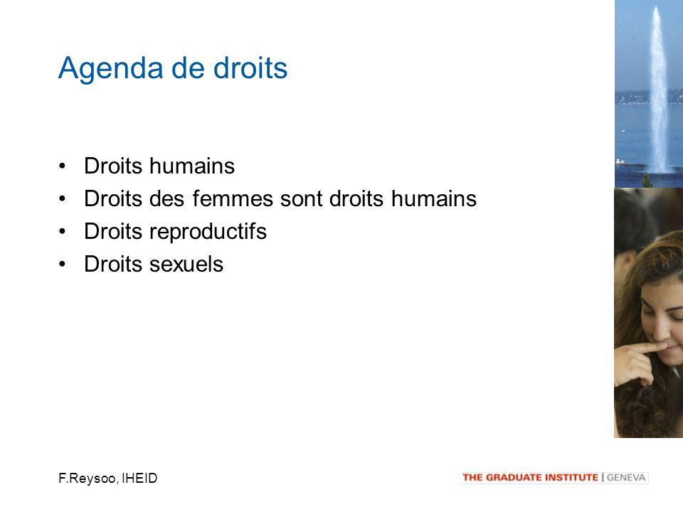 F.Reysoo, IHEID Droits humains Droits des femmes sont droits humains Droits reproductifs Droits sexuels Agenda de droits