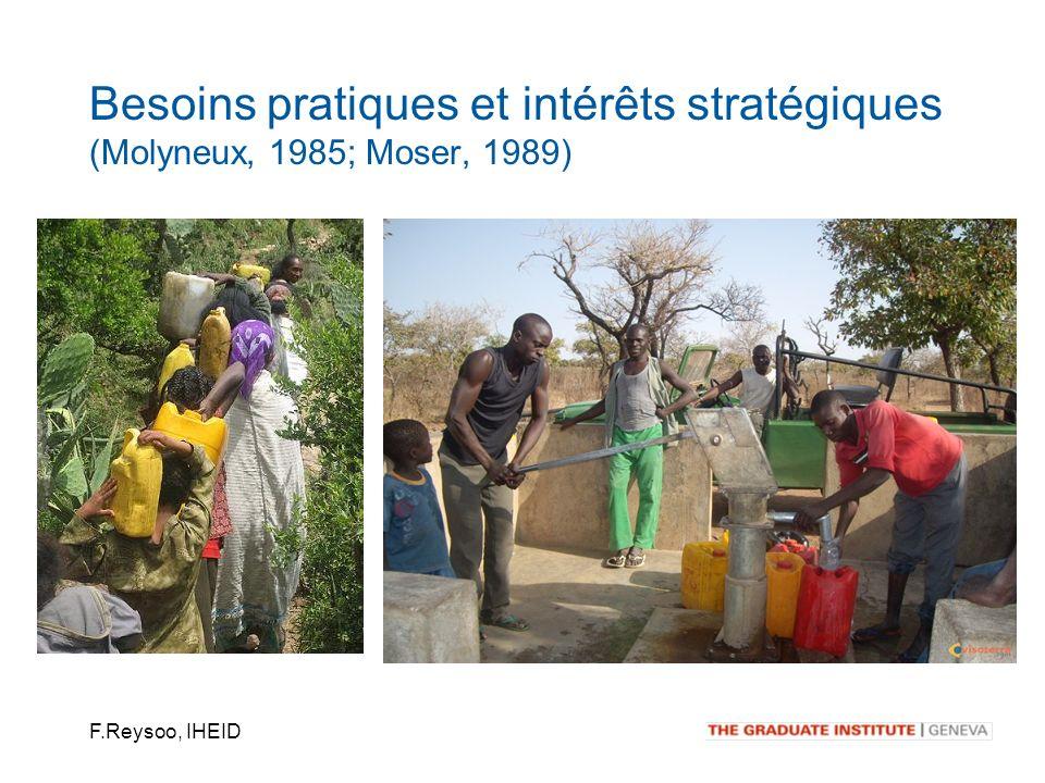 F.Reysoo, IHEID Besoins pratiques et intérêts stratégiques (Molyneux, 1985; Moser, 1989)