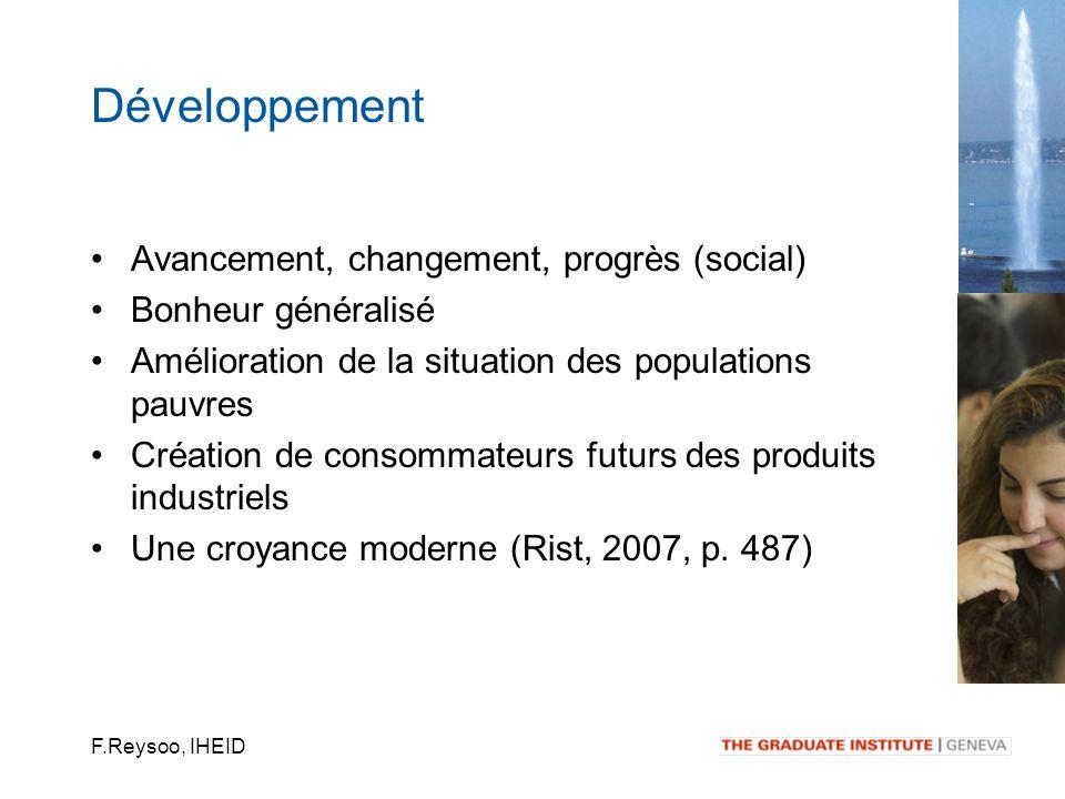 F.Reysoo, IHEID Avancement, changement, progrès (social) Bonheur généralisé Amélioration de la situation des populations pauvres Création de consommat