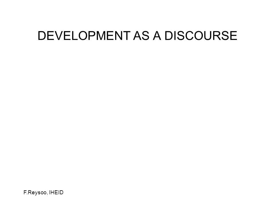 F.Reysoo, IHEID Développement social Développement humain Développement durable Development fatigue (cf Dead Aid, Dambisa Moyo) Développement avec adjectifs