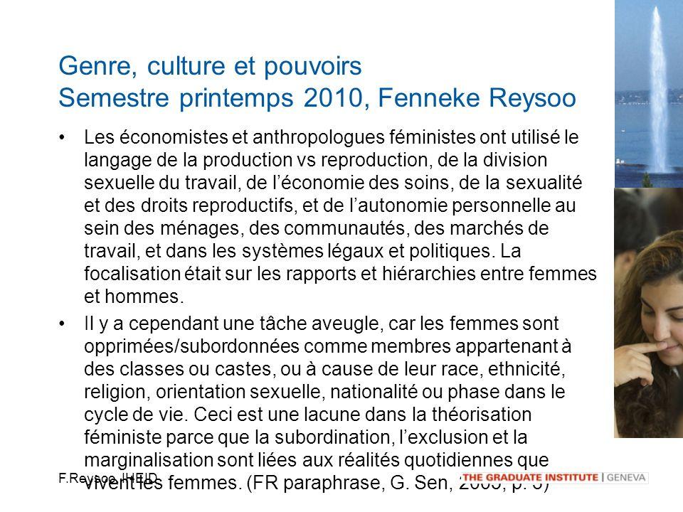 F.Reysoo, IHEID Les économistes et anthropologues féministes ont utilisé le langage de la production vs reproduction, de la division sexuelle du trava