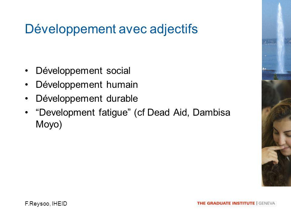 F.Reysoo, IHEID Développement social Développement humain Développement durable Development fatigue (cf Dead Aid, Dambisa Moyo) Développement avec adj