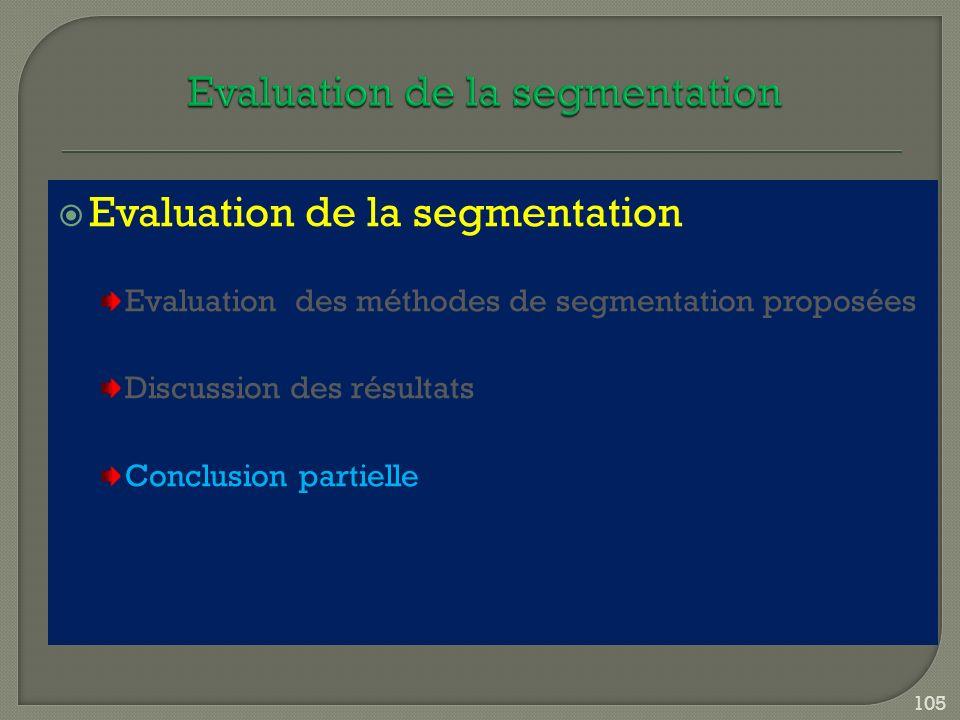 Evaluation de la segmentation Evaluation des méthodes de segmentation proposées Discussion des résultats Conclusion partielle 105