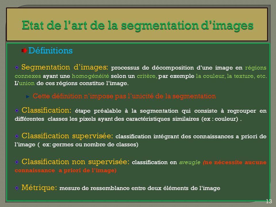 Définitions Segmentation dimages: processus de décomposition dune image en régions connexes ayant une homogénéité selon un critère, par exemple la cou