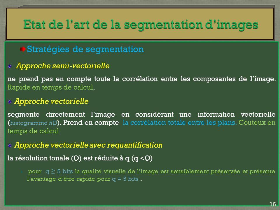 Stratégies de segmentation Approche semi-vectorielle ne prend pas en compte toute la corrélation entre les composantes de limage. Rapide en temps de c