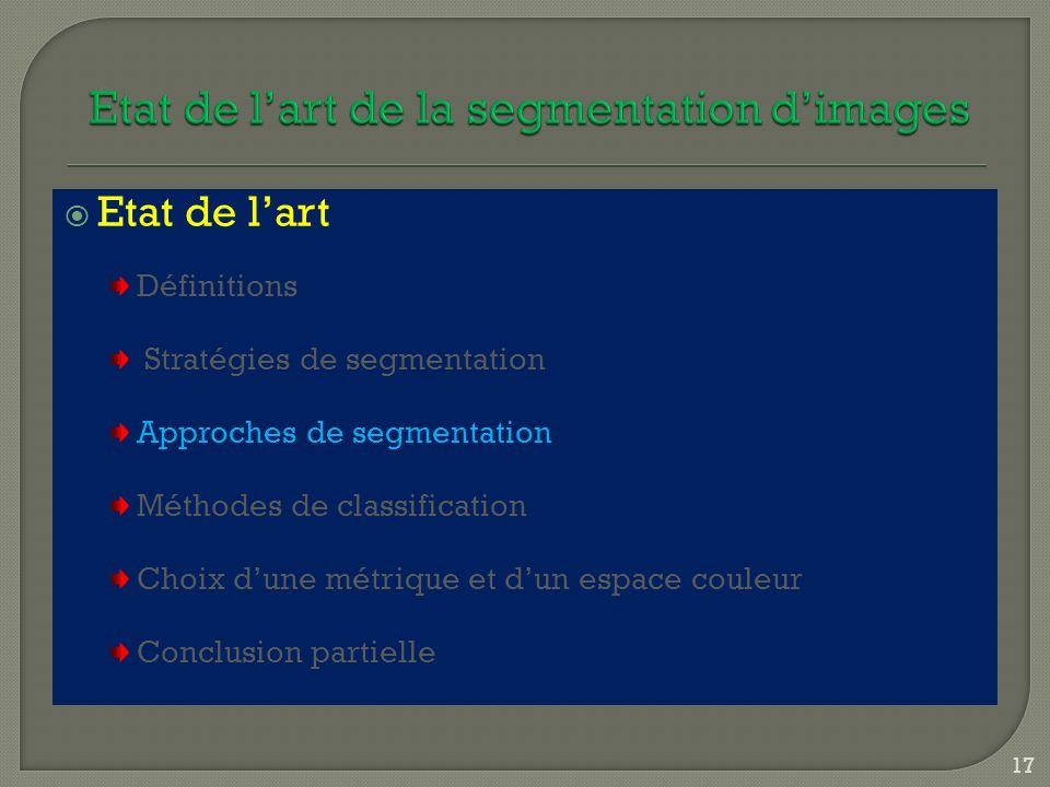 Etat de lart Définitions Stratégies de segmentation Approches de segmentation Méthodes de classification Choix dune métrique et dun espace couleur Con