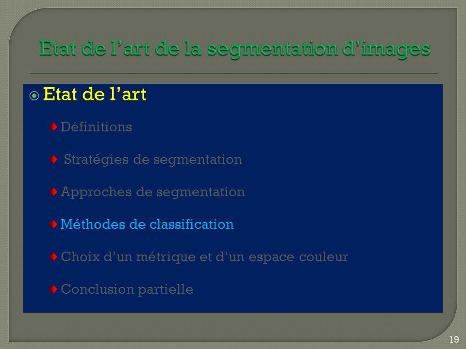 Etat de lart Définitions Stratégies de segmentation Approches de segmentation Méthodes de classification Choix dun métrique et dun espace couleur Conc