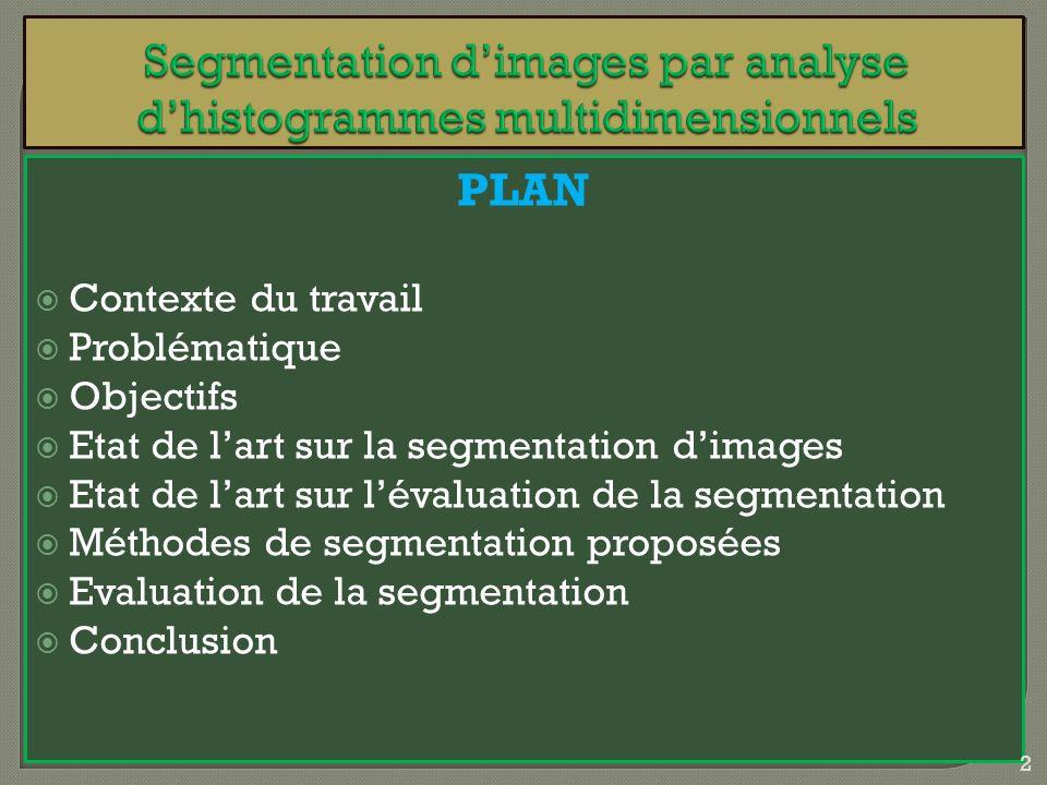 PLAN Contexte du travail Problématique Objectifs Etat de lart sur la segmentation dimages Etat de lart sur lévaluation de la segmentation Méthodes de
