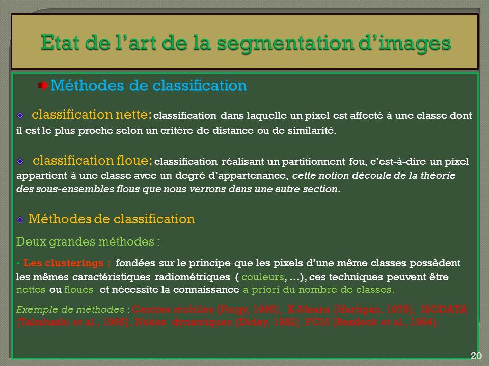 Méthodes de classification classification nette: classification dans laquelle un pixel est affecté à une classe dont il est le plus proche selon un cr