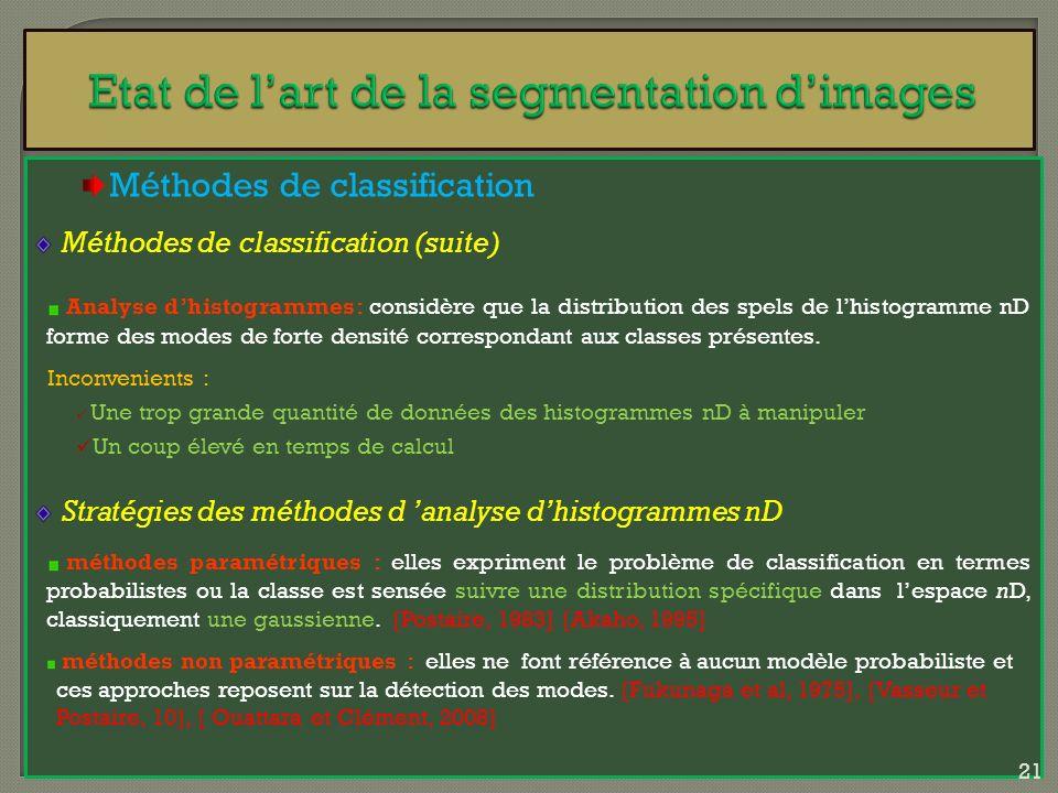 Méthodes de classification Méthodes de classification (suite) Analyse dhistogrammes: considère que la distribution des spels de lhistogramme nD forme