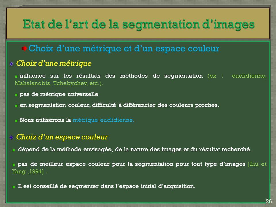 Choix dune métrique et dun espace couleur Choix dune métrique influence sur les résultats des méthodes de segmentation (ex : euclidienne, Mahalanobis,
