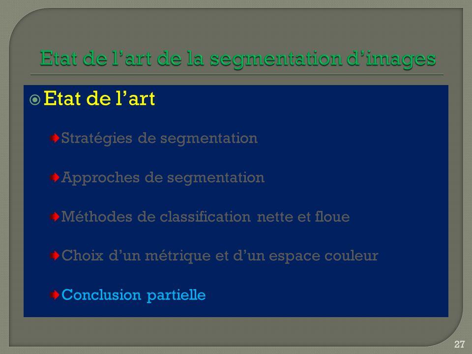 Etat de lart Stratégies de segmentation Approches de segmentation Méthodes de classification nette et floue Choix dun métrique et dun espace couleur C