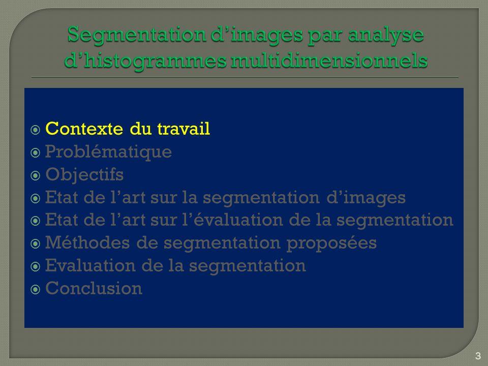 Contexte du travail Problématique Objectifs Etat de lart sur la segmentation dimages Etat de lart sur lévaluation de la segmentation Méthodes de segme