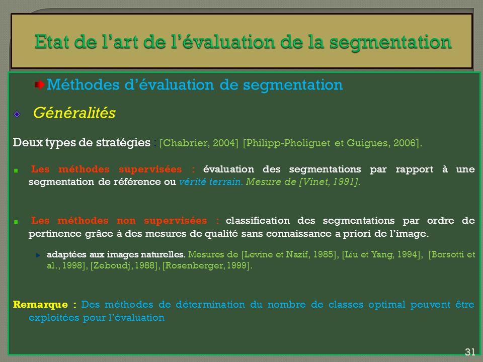 Méthodes dévaluation de segmentation Généralités Deux types de stratégies : [Chabrier, 2004] [Philipp-Pholiguet et Guigues, 2006]. Les méthodes superv