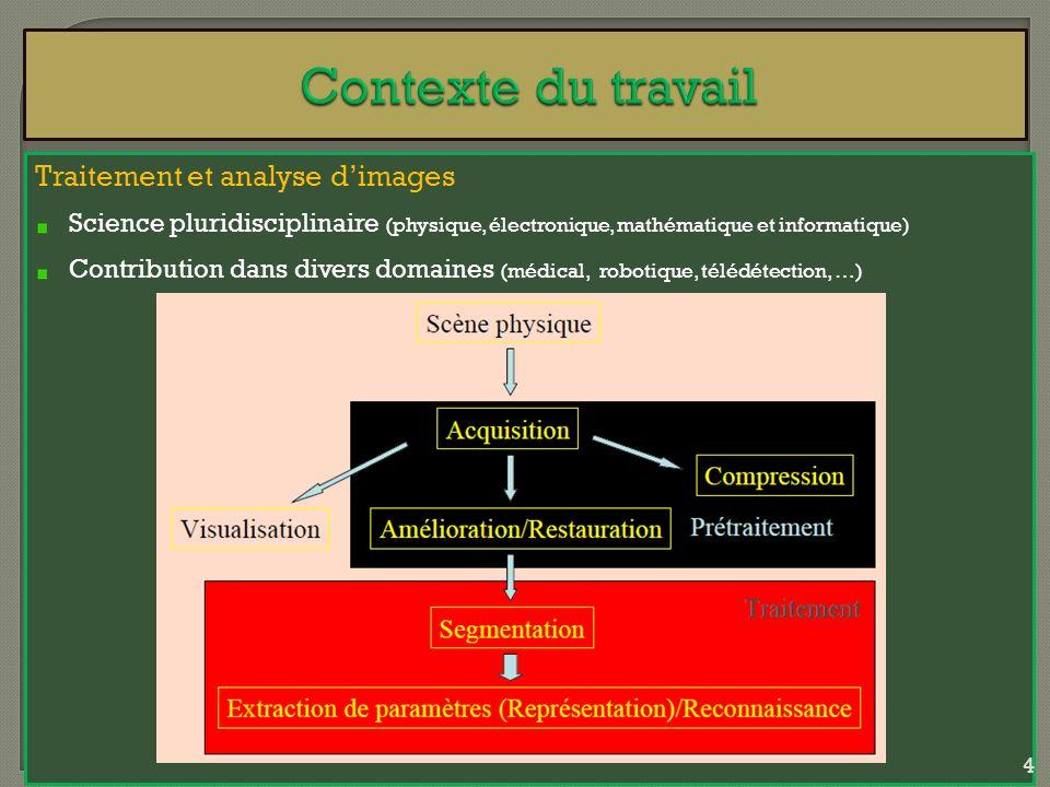 Traitement et analyse dimages Science pluridisciplinaire (physique, électronique, mathématique et informatique) Contribution dans divers domaines (méd
