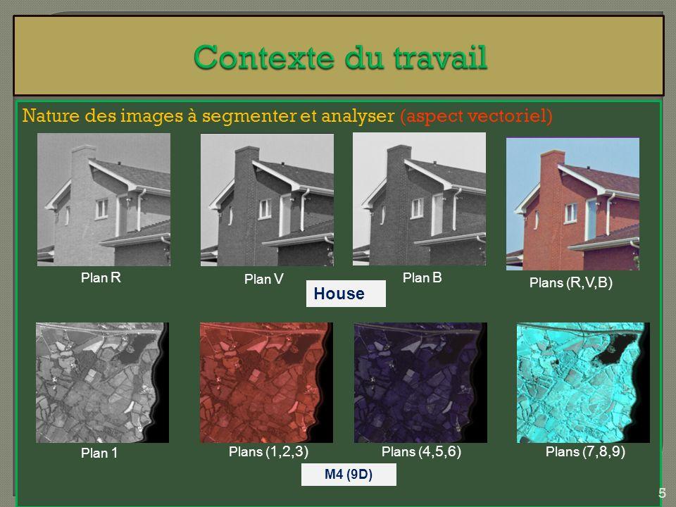 Nature des images à segmenter et analyser (aspect vectoriel) Plan R Plan V Plan B Plans ( R,V,B) Plan 1 House Plans ( 1,2,3) Plans ( 4,5,6) Plans ( 7,