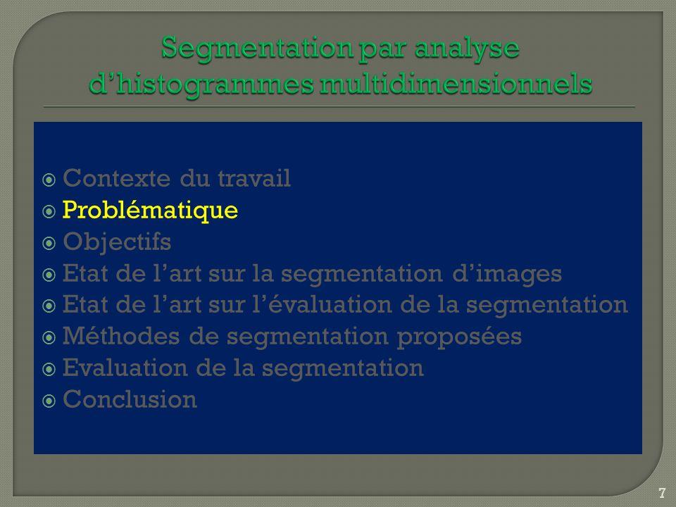 Conclusion partielle (suite) Nombre de classes IRM Paramètres segmentation Intra Levine et Nazif BorsottiZeboudjRosenberger 5 Θ = 0,50 0,93560,221600,5090 5 Θ = 0,33 0,93980,220200,5089 5 Θ = 0,25 0,87220,316700,5103 5 Θ = 0,20 0,82400,331800,5107 5 Θ = 0,17 0,80940,344400,5122 5 q = 5 0,87680,213200,5098 5 q = 6 0,93350,179300,5084 5 q = 7 0,92480,215300,5092 8 Θ = 0,50 0,92770,278600,5054 8 Θ = 0,33 0,89630,233900,5051 8 Θ = 0,25 0,82130,352800,5060 8 Θ = 0,20 0,81250,385300,5065 8 Θ = 0,17 0,82970,280100,5064 8 q = 5 0,84680,237300,5056 8 q = 6 0,89300,183000,5046 8 q = 7 0,87660,190800,5044 108