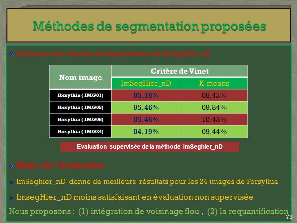 Evaluation des résultats de segmentation de ImSegHier_nD Bilan de lévaluation ImSeghier_nD donne de meilleurs résultats pour les 24 images de Forsythi