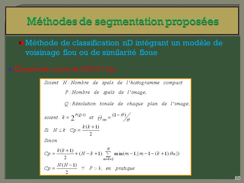 Méthode de classification nD intégrant un modèle de voisinage flou ou de similarité floue C omplexité au pire de lECCF ( Cp) 85