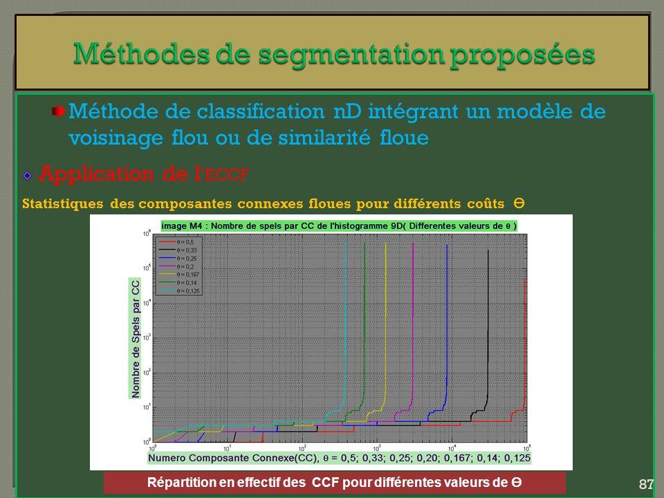 Méthode de classification nD intégrant un modèle de voisinage flou ou de similarité floue Application de l ECCF Statistiques des composantes connexes