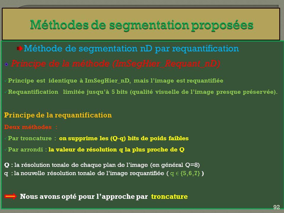 Méthode de segmentation nD par requantification Principe de la méthode (ImSegHier_Requant_nD) Principe est identique à ImSegHier_nD, mais limage est r