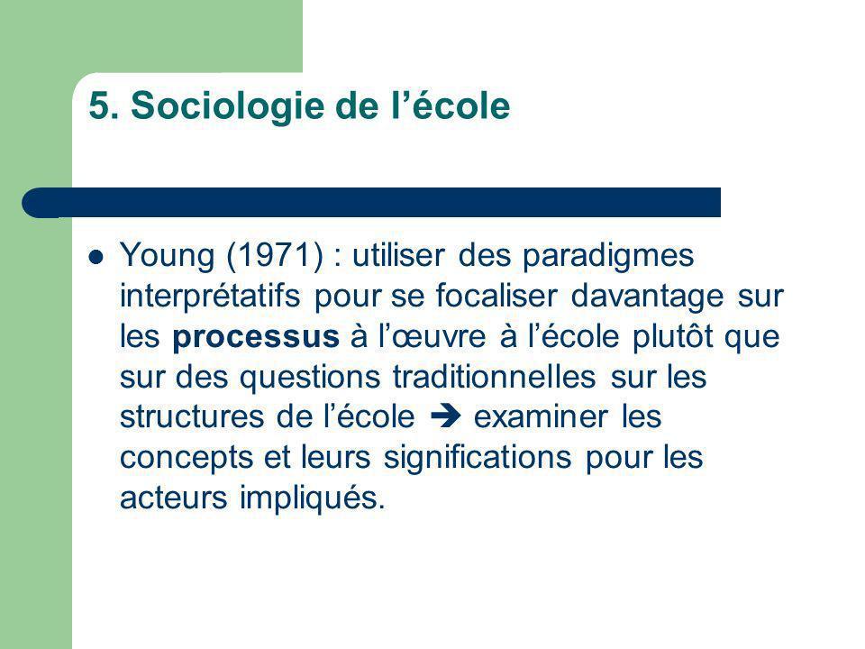 5. Sociologie de lécole Young (1971) : utiliser des paradigmes interprétatifs pour se focaliser davantage sur les processus à lœuvre à lécole plutôt q
