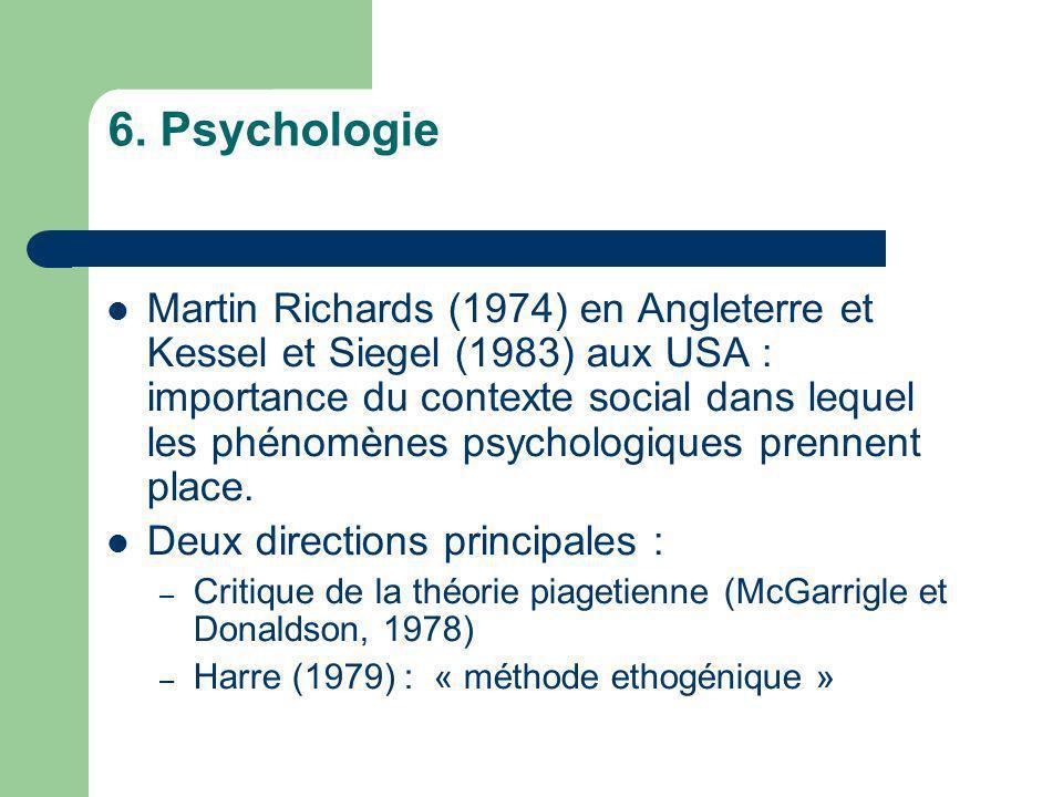 6. Psychologie Martin Richards (1974) en Angleterre et Kessel et Siegel (1983) aux USA : importance du contexte social dans lequel les phénomènes psyc